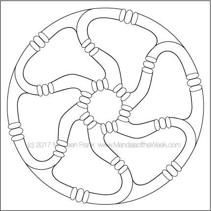 Wheels Mandala to Color - designed by me (Maureen Frank)