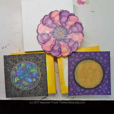 Mandala Art - Primrose - Hearts - Yellow and Purple
